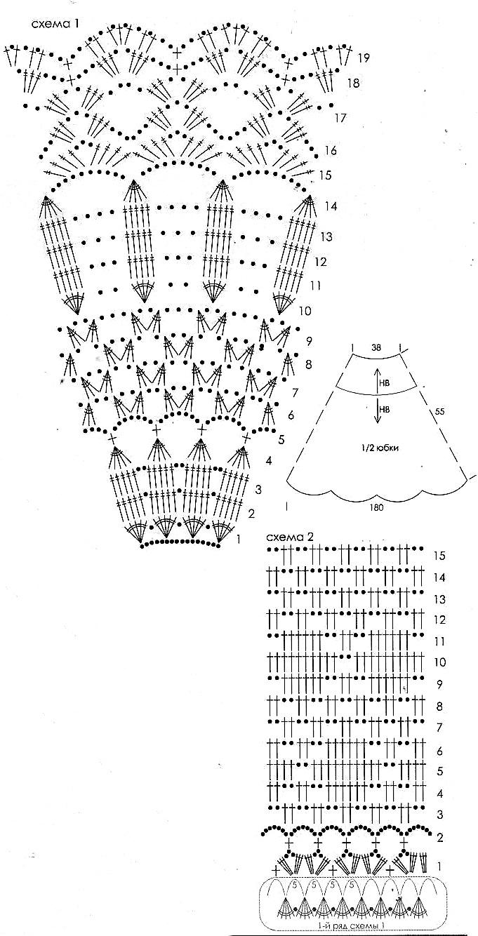 Схемы вязания юбок крючком бесплатно